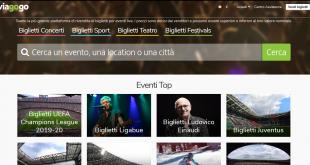 Schermata di un sito chiamato viagogo di vendita di biglietti online con varie caselle per scegliere l'evanto che interessa